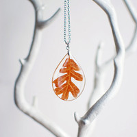 Autumn Oak Leaf Teardrop Clear Resin Pendant by Goodthings88