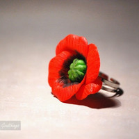 Red Hot Poppy Ring by Goodthings88 on Etsy