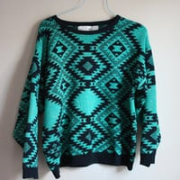 Southwestern Green, Black, and Gold Lurex Sweater