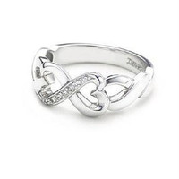 925 Fine Silver Heart Infinity Love Ring