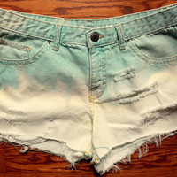 Blue and White Ombre Denim Shorts