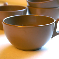 Vintage Melamine Cups in Mocha Taupe Brown