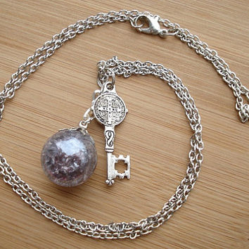 Medieval Key Purple Crackle Glass Marble Long Necklace