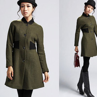 Winter wool coat army green jacket (398)