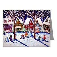 Kids Making Snowmen Note Cards (Pk of 20)> Greeting Cards Post Cards Note Cards> Renie Britenbucher Artwork