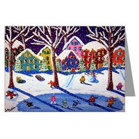 Winter Folk Art Ice Skate Greeting Cards Pk of 10)> Greeting Cards Post Cards Note Cards> Renie Britenbucher Artwork