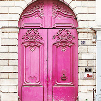 Neon Pink Door, Paris France - 8x10 Home Decor Art Photography Print, Magenta, Brick, White, French, Travel, Girls Room, Feminine, Love,