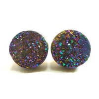 Rainbow Flame Druzy Stud Earrings n19 by AstralEYE on Etsy