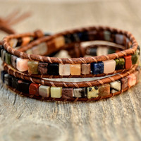 Natural wrap bracelet. Mixed gemstone cubes. Boho chic jewelry