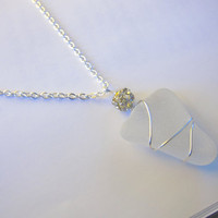 Wedding White heart sea glass necklace - Elegant nautical Jewlery Holiday special FREE SHIPPING
