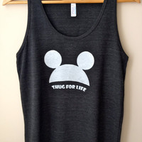 Mickey 'THUG FOR LIFE' graphic tank in Black