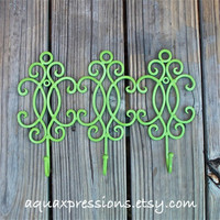 Metal Wall Hook /Retro Green /Bright Shabby Chic Decor /Ornate Hanger /Key Holder /Bathroom Fixture /Bedroom /Laundry /Nursery