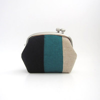Frame Coin Purse-- side lock frame small pouch -linen patchwork