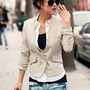 Fashionable Deep V-Neck M Size Beige Long Sleeves Coat--Women's Coats China Wholesale - Sammydress.com