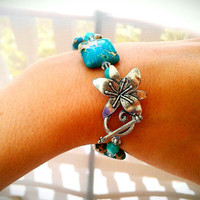 Aqua Jasper Stone Crystal Lily Bracelet