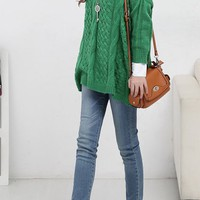 OASAP - Plaited Pattern Green Jumper - Street Fashion Store