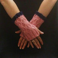 Pink Fingerless Gloves Blue Cable Knit Diamond Motif Small Short