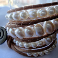 Boho Bracelet Beaded Leather Cuff Chan Luu Freshwater Pearls