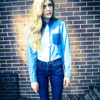 Vintage Jean Color Block Blouse
