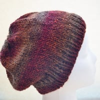 Knit Slouchy Beanie in Harvest Moon - Ready to Ship, fall knit hat, cranberry, rust, brown