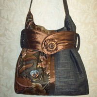 Suze Satchel Handmade Handbag, Black And Brown, Fabric Handbag, Totes, Bags And Purses, Handbags