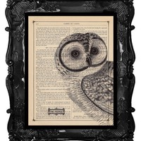 Antique Owl Print Owl Art Print Owl Decor Owl Head Dictionary Book Page Print 8 x 10 Black