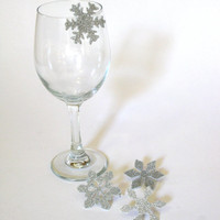 Snowflake Wine Charms, Silver Glittered Winter Holiday Hostess Gift (Set of Four to clip on your glass)