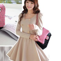 New Fashion Korean Style Cutie Women Puffed Shoulders Dress 2 Colors