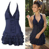 Women Deep-V Layered Ruffle Swim Dress One-Piece Bathing Suit Swimsuit SC_2016