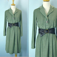 Vintage 70s Dress / Avocado Green Softest Terry Dress / s-m