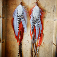 SALE: 15% OFF the ENTIRE shop - Scarlet Letter Long Feather Earrings