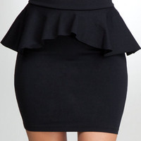 Peplum Knit Pencil Skirt