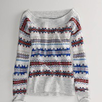AE Fair Isle Off-Shoulder Sweater | American Eagle Outfitters