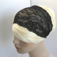 Wide Stretch Lace Headband Black Flowers Head Wrap Women's Hairband Hair Covering