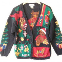 Shop Now! Ugly Sweaters: Teddy Bear Christmas Vintage 90s Chunky Knit Tacky Ugly Sweater Women's Size Large/XL (L/XL) $20 - The Ugly Sweater Shop