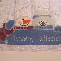 Snowman Sign Wood Painted &quot;Snowman Collector&quot; Wall Hanging Sign