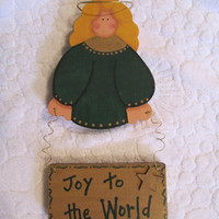 Christmas Angel Sign &quot;Joy to the World&quot; Wood Painted Angel Wall Hanging Sign