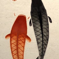 Two Koi Swimming Towards Happiness Art Poster by TigerHouseArt