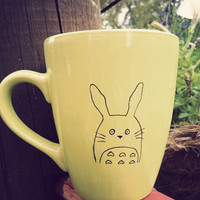 Totoro & moustache mug in green  hand drawn by Mr by MrTeacup