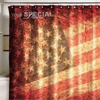 "Shower Bath Curtain USA US flag banner grunge United States blind  71x71""(180x180cm)"