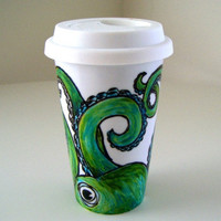 Octopus Ceramic Travel Mug Painted Green Eco Friendly sea creature tentacles kraken by sewZinski on Etsy