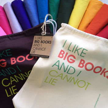 I Like Big Books And I Cannot Lie - Lightweight Cinch Sack Tote Bag - FREE SHIPPING