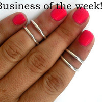 Bussiness of the week - 4 Above the Knuckle Silver Rings - set of  4 stackable silver rings  Above the Knuckle Rings  set of  4