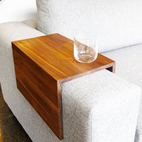 Couch Arm Wrap - SOLID WOOD reclaimed wood arm drink rest table for couch / sofa