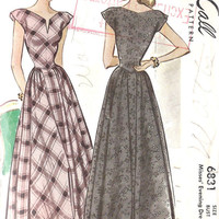 1940s Misses Evening Dress Vintage Sewing by MissBettysAttic