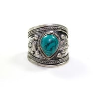 Turquoise Teardrop Tibetan Ring | VidaKush