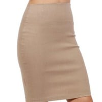 Mocha Basic Pencil Skirt