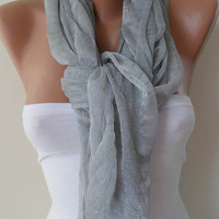 New - Christmas Gift - Light Grey Scarf - Tulle Fabric - Seamless Shawl