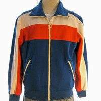 Vintage Amazing 80s USA HEAD TENNIS Striped Unisex Medium Polyester Blend Zip Warm Up Track Jacket