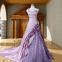 A-line/Princess Sweetheart Chapel Train Satin Lace Wedding Dresses With Embroidery Flower Beading Free Shipping